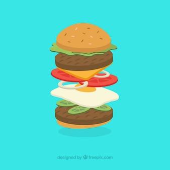 卵付きのおいしいハンバーガー