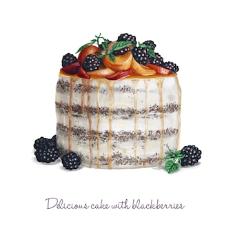 Delicious cake with blackberries