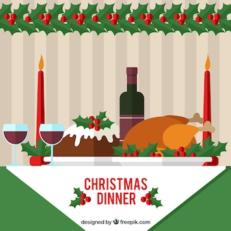 Delicious christmas dinner illustration