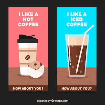 Delicious coffee banners with message