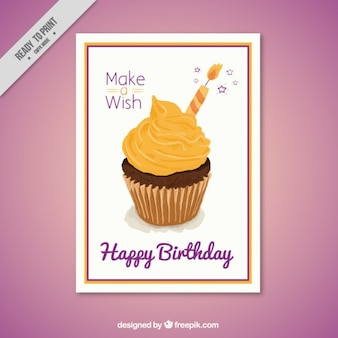 Delicious cupcake in a birthday party invitation