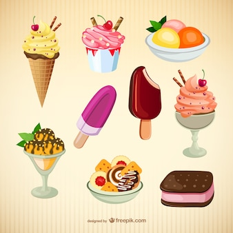 Delicious ice creams collection