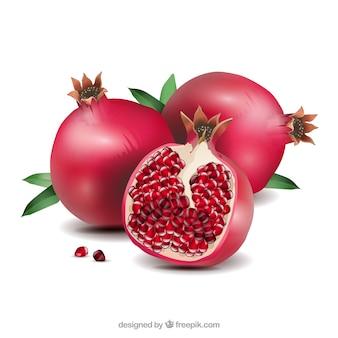 Delicious pomegranate in realistic style