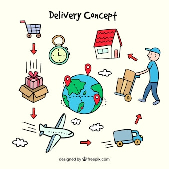 Delivery concept with hand drawn style