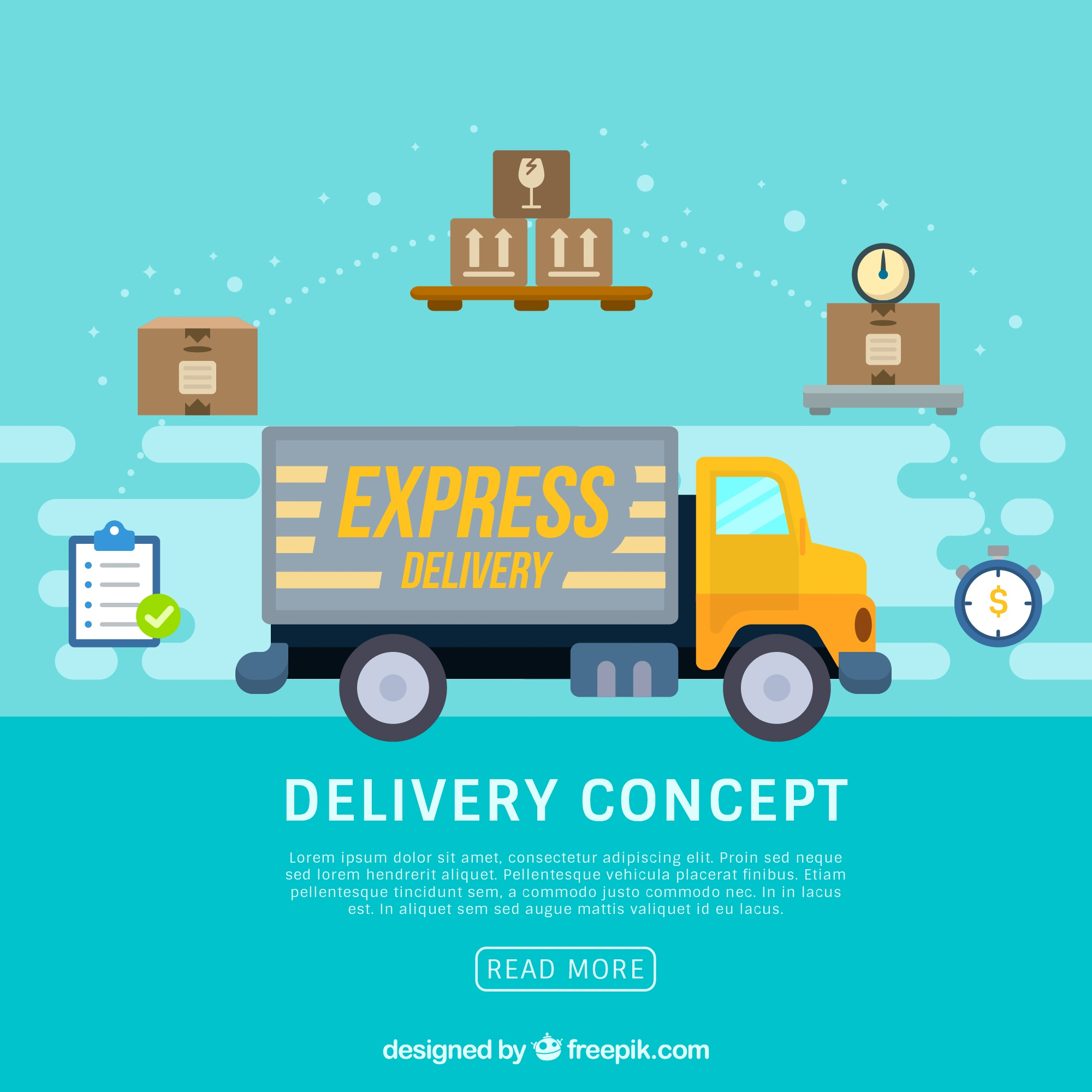 Delivery concept with modern lorry