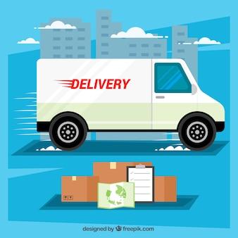 Концепция доставки с грузовиком, коробками и картой