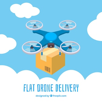 Delivery drone among clouds