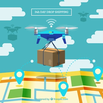 Delivery drone and map with flat design