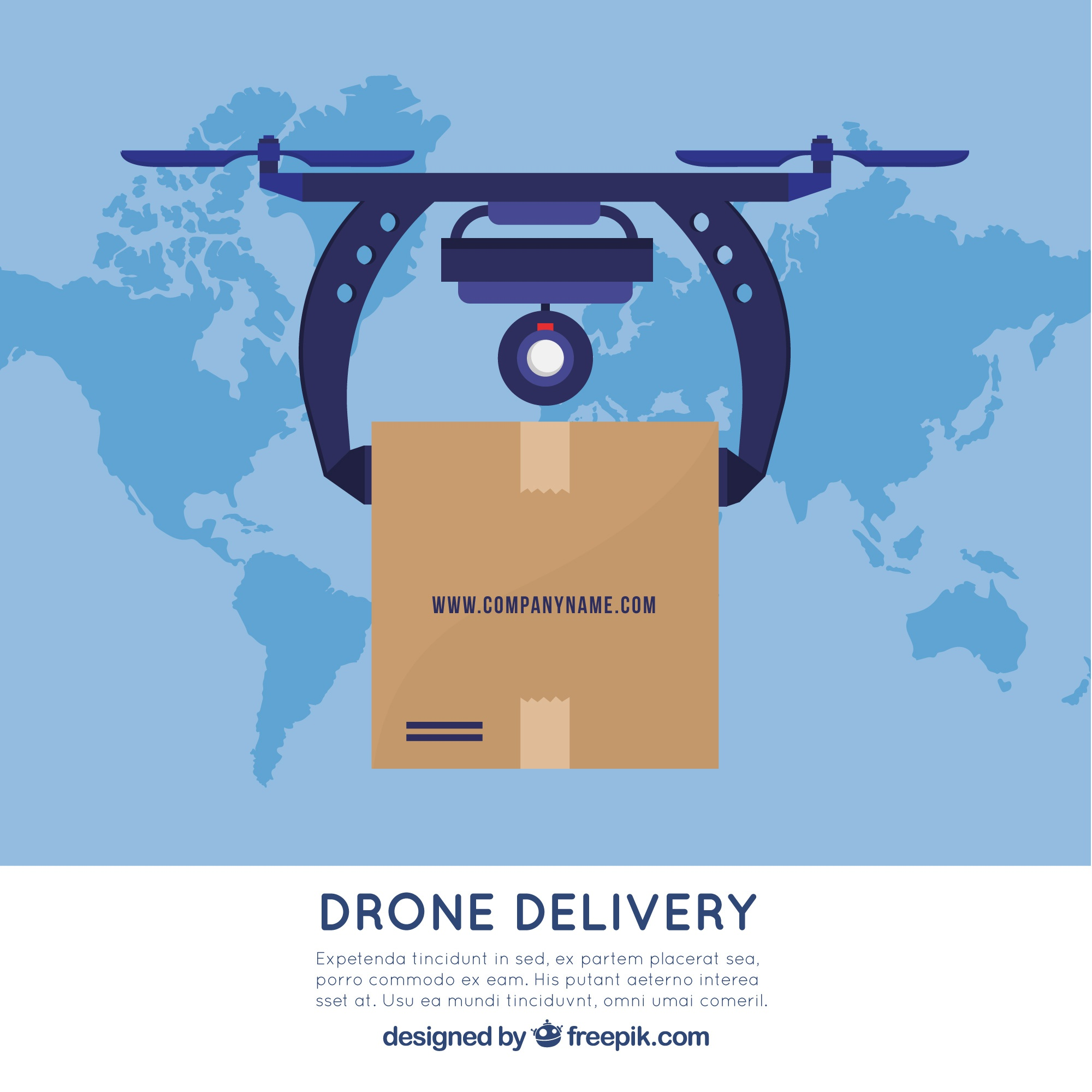 Delivery drone and world map