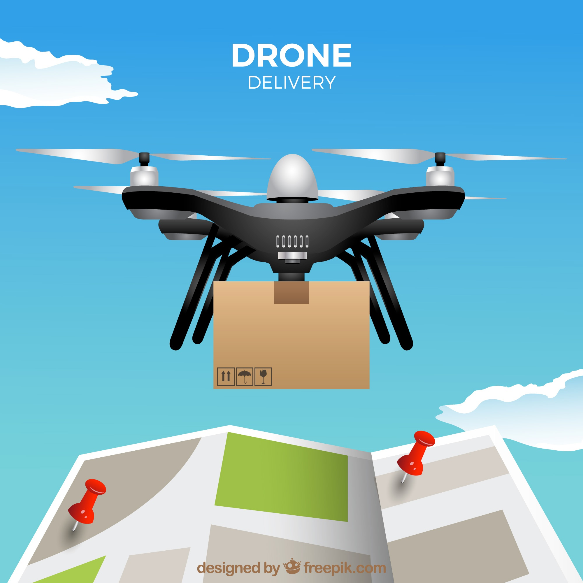 Delivery drone design with map