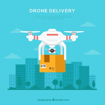 Delivery drone in the city