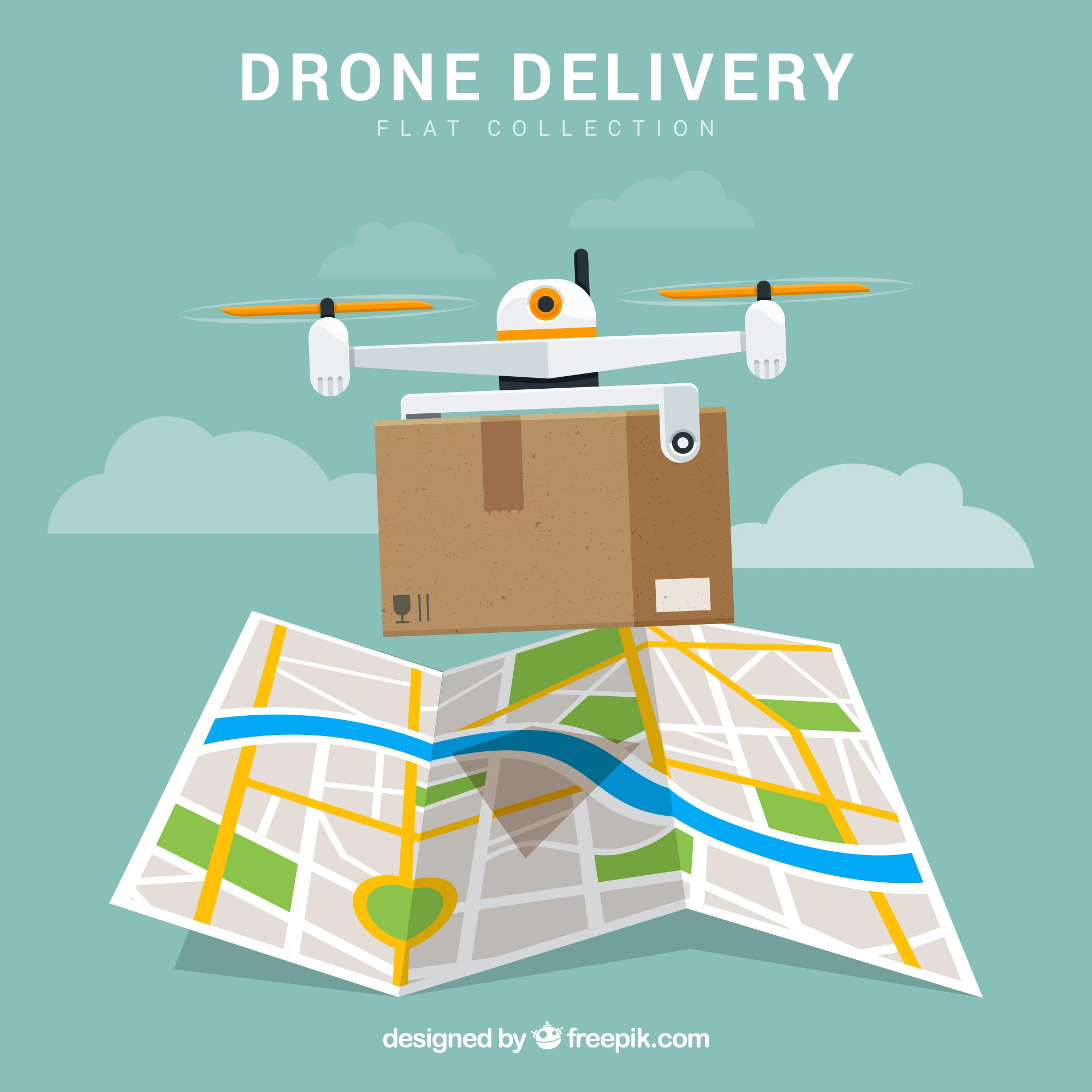 Delivery drone with box and map