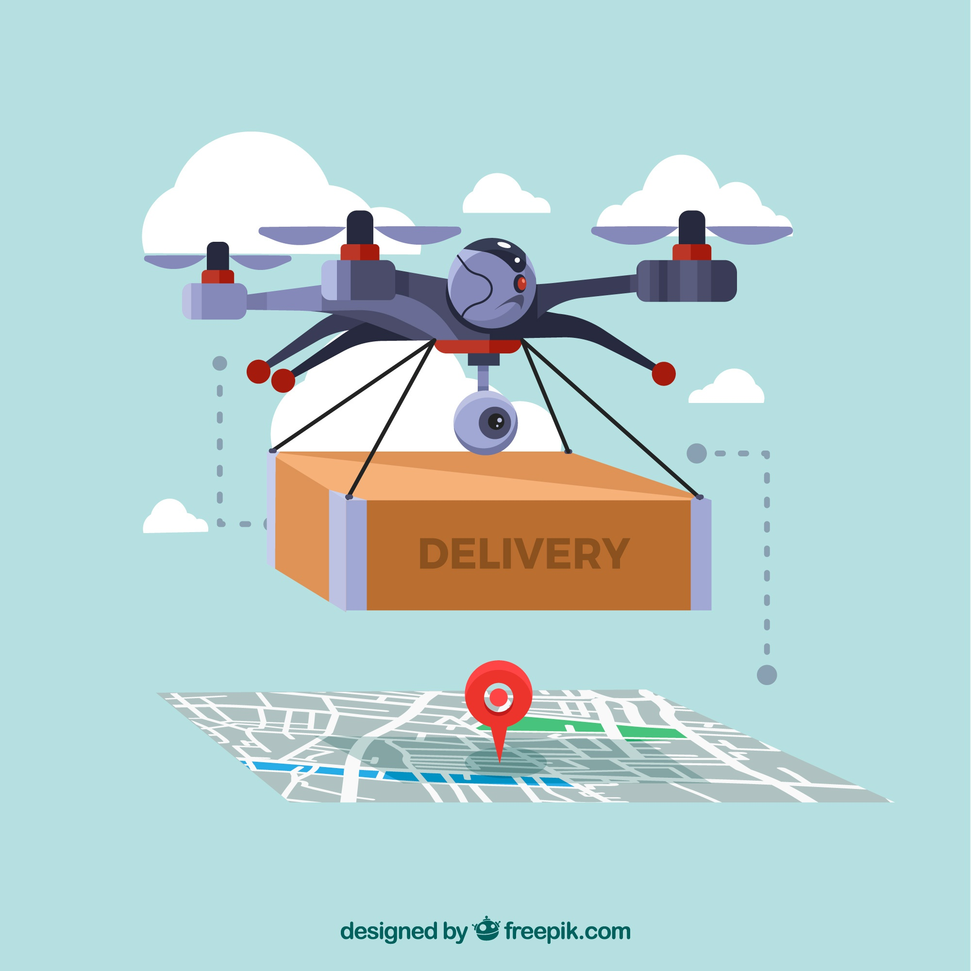 Delivery drone with map