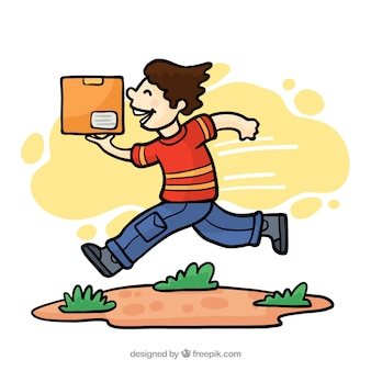 Delivery man running with a carton box