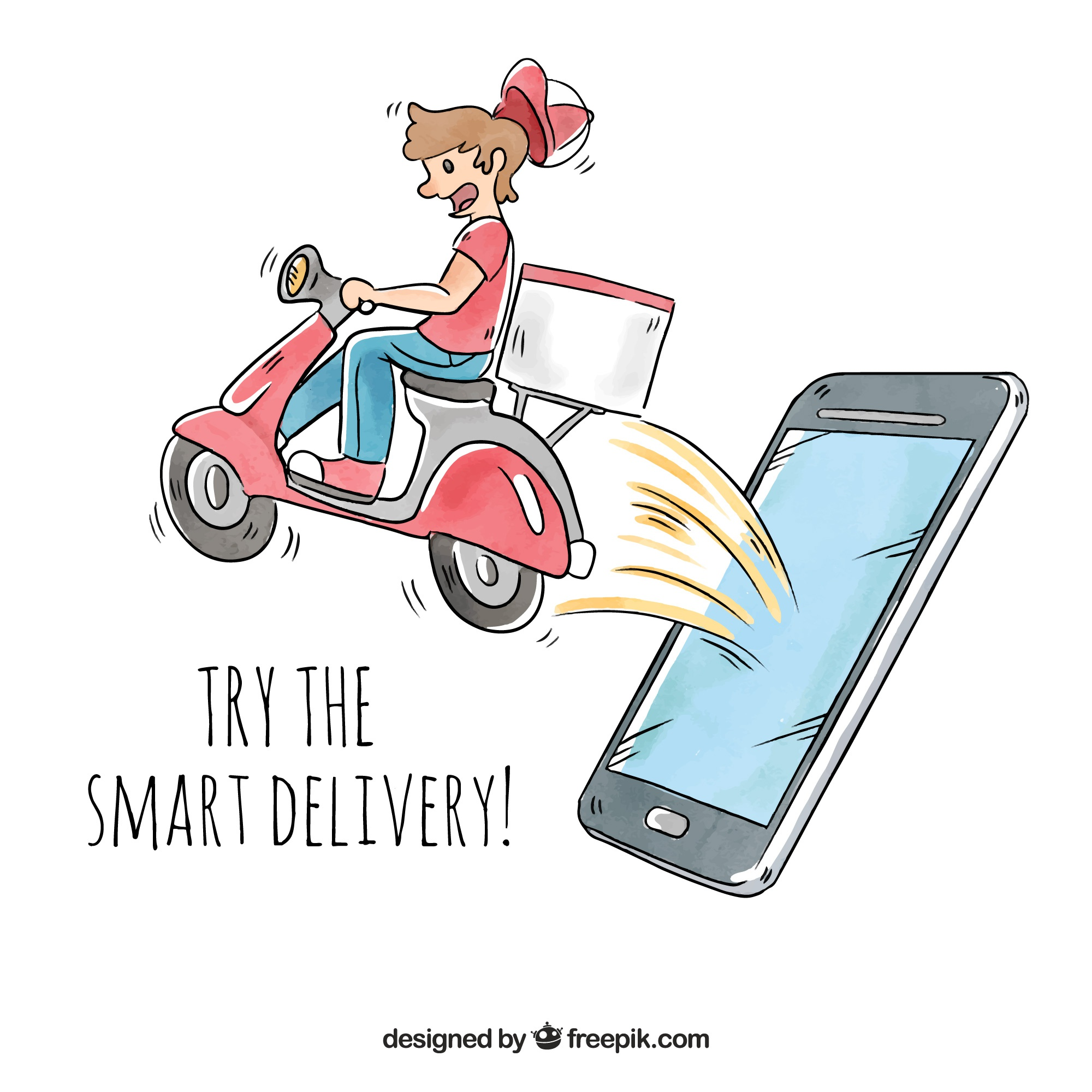 Delivery man with scooter coming out phone's screen