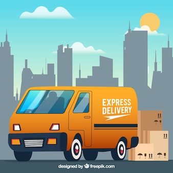 Delivery truck, carton boxes and the city