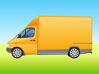 Delivery van safety transport vector
