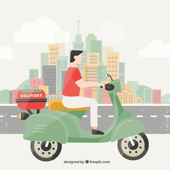 Deliveryman in the city with flat design