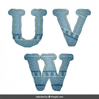 Denim alphabet U V W