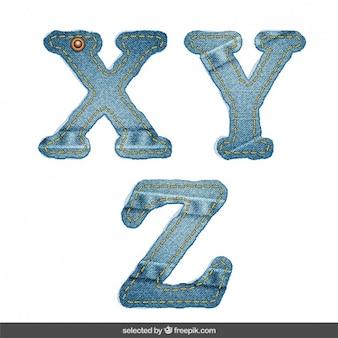 Denim alphabet X Y Z