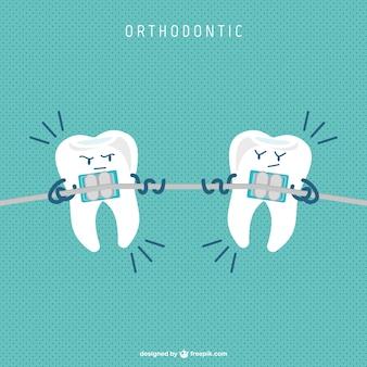 歯列矯正具の漫画のベクトル
