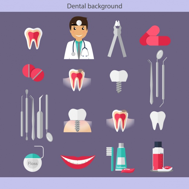 Dental care icons collection