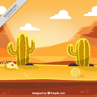 Desert background with cactus