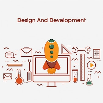Design and development background with rocket