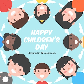 Design for childrens day with kids in circle