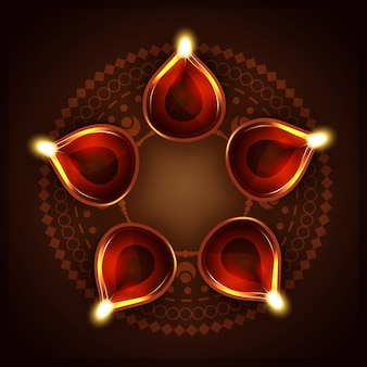 Design for diwali festival with five candles