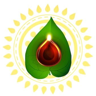 Design for diwali festival with leaf