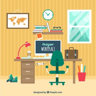 Designer workplace in flat style