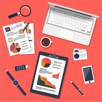 Desktop background with laptop and business documents
