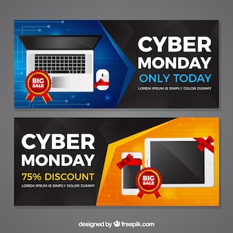 Detailed cyber monday banners