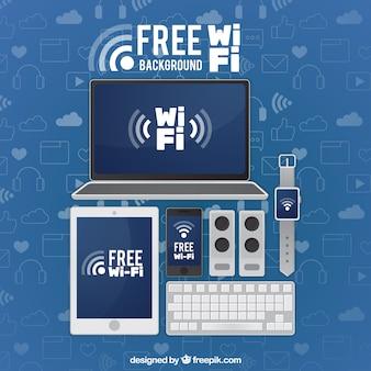 無料の無線LANを搭載したデバイスの背景