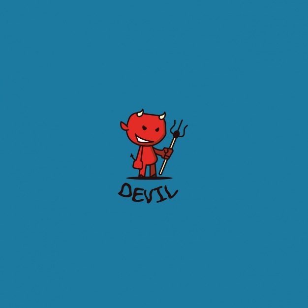 Devil logo on a blue background