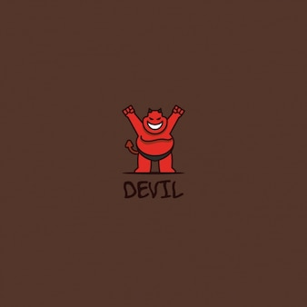 Devil logo on a brown background
