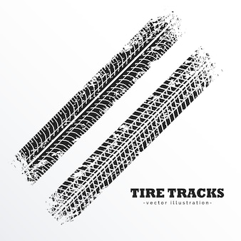 Diagonal tire tracks