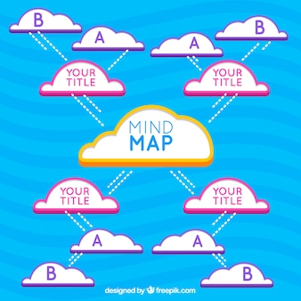 Diagram template with clouds