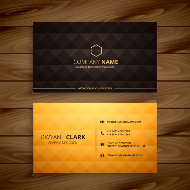 Diamond shapes golden business card