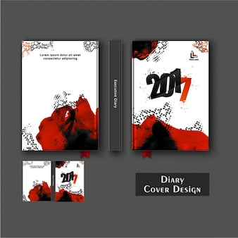 Diary cover design with black and red stains