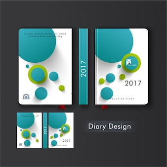 Diary cover with blue and green circles