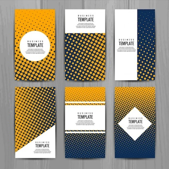 Different business cards with halftone dots