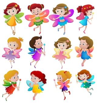 Different characters of fairies flying
