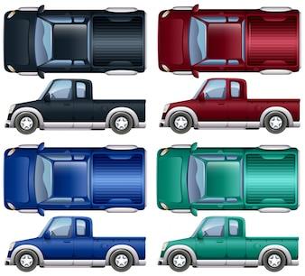 ピックアップトラックのさまざまな色のイラスト