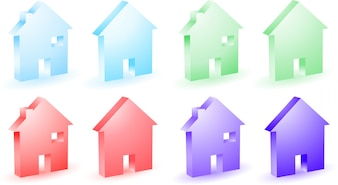 Different colored house icons