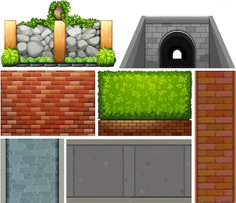 Different design of wall and footpaths illustration