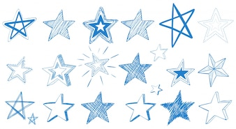 Different designs of blue stars