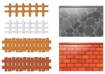 Different designs of fences and walls