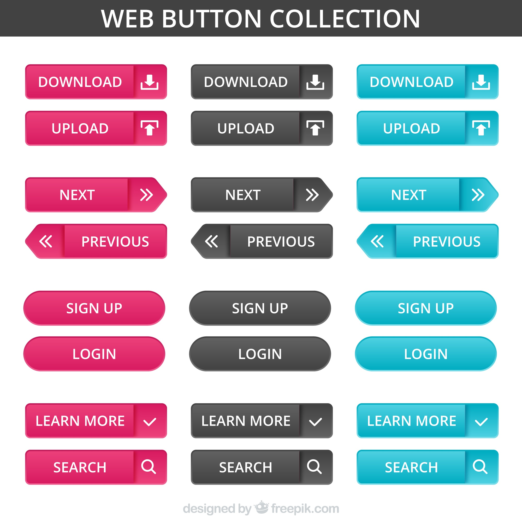 Different designs of web buttons